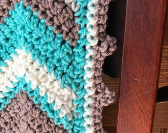 Brown, Teal and Ivory Chevron Throw Blanket