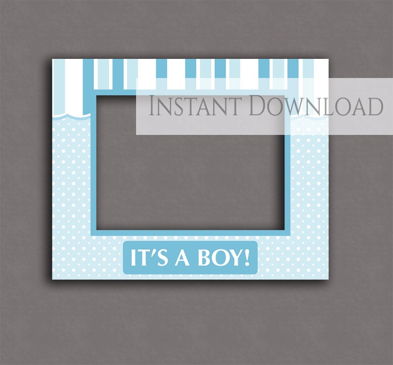 Baby shower printable photobooth frame it\'s a boy blue