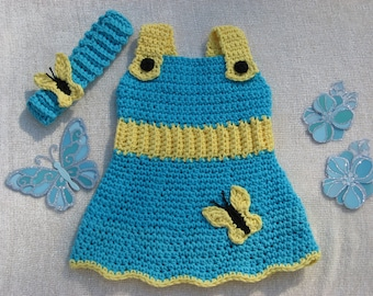 Butterfly Garden Sundress and Matching Headband Crochet Pattern pdf all sizes included from 0-3mos- 2yrs