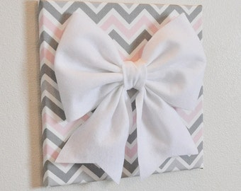 """Wall Decor -Large White Bow on Pink and Gray Chevron 12 x12"""" Canvas Wall Art- Baby Nursery Wall Decor-"""