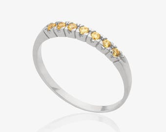 Citrine silver ring gemstone multistone ring november birthstone rings women gemstone jewelry promise ring silver stacking ring