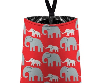 Car Trash Bag // Auto Trash Bag // Car Accessories // Car Litter Bag // Car Garbage Bag - Elephants (grey on red) // Car Organizer