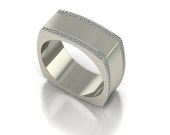 14K Gold White Gold  Men's  Ring With  White Diamonds M-MRG1005