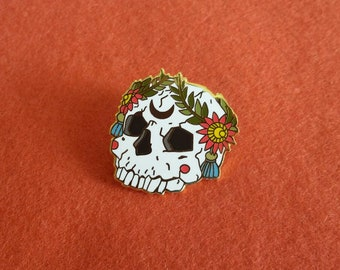 Ornate Skull Hard Enamel Pin with Floral Wreath, skull pin, goth pin, punk pin, moon pin, pins, lapel pin, gift idea, stocking stuffer