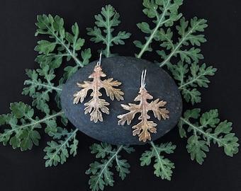 Bronze FeverFew Leaf Earrings - Handmade in Austin, Tx - Plant Jewelry - Statement Earrings - made by Jamie Spinello