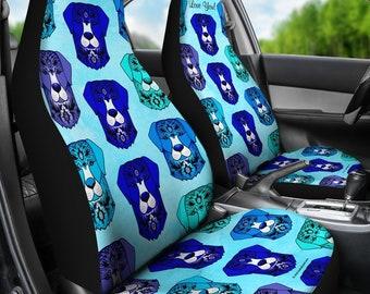 Fancy Pants Dog Pair Of Micro Fiber Car Seat Covers Blue