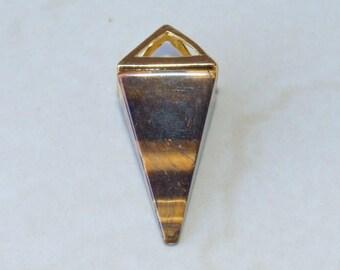 Cats Eye Pendant - Pyramid Pendant - Triangle Pendant - Cats Eye Point - Gemstone Pyramid Pendant - 15mm x 34mm