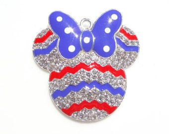 42mm Mickey Mouse Inspired 4th of July, Patriotic Pendant for Chunky bead  Necklace, Silver Rhinestone, P31