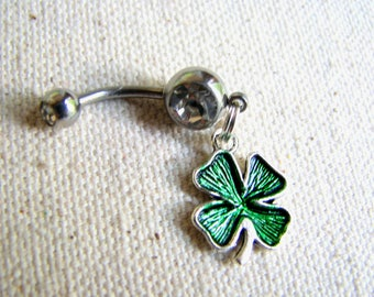 Shamrock Belly Ring, St Patricks Day Four Leaf Clover Charm Irish Belly Button Jewelry