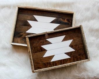 Reclaimed wood trays / SET OF 2; serving tray, decorative tray, wood tray, vanity tray, wooden tray, jewelry tray, ottoman tray, barn wood
