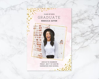 Printable Watercolor and Glitter Confetti Graduation Photo Card Invitation or Announcement