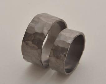 Black sterling silver wedding band set, strongly hand hammered texture, intriguing couple's ring set, his width 10mm, hers width 7.5mm BE112