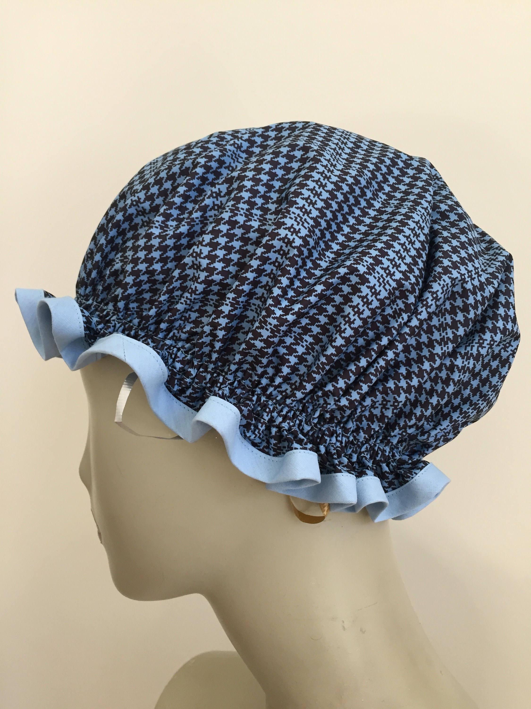 Sky Blue and Black Houndstooth Vintage Shower Caps. Poly-cotton Trim ...