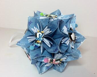 Small Kusudama Flower Ball Ornament (Penguins V3)