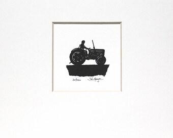 "Ferguson ""Little Grey Fergie"" Tractor Original Signed Hand Cut Silhouette Papercut Art by John Speight - Gift for him"