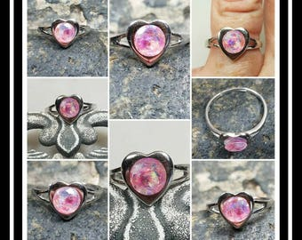 Memorial Ash Sterling Silver Heart Adjustable Ring /Memorial Ash Cremation Ring/Pet Memorial/more than 90 Color Options and more
