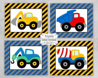 Printable Construction Trucks Nursery Wall Art Decor Baby Child Kids Little Boy ~ DIY Instant Download ~ 4 8x10 Prints