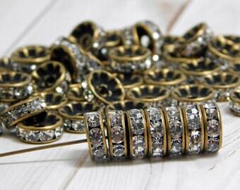 10mm - Rhinestone Beads - Bronze Spacers - Rhinestone Spacers - Rhinestone Rondelle Beads - 25pcs - (2691)
