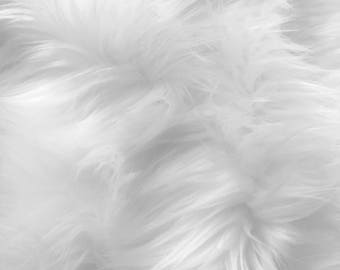 Eden WHITE 2 Inch Long Pile Soft Faux Fur Fabric by the Yard - 10005