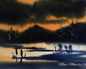 Original Watercolor Dark Skies