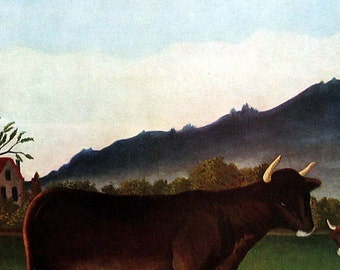 Landscape with Cattle by Henri Rousseau - Fine Art Print - Masterpiece Painting - Reproduction Print - 12 x 10