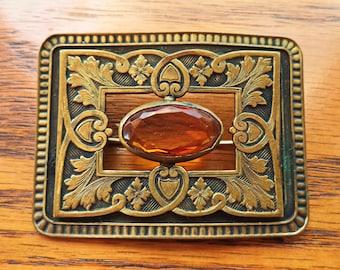Large Antique Victorian Sash Pin Brooch Amber Glass Brass Bronze Base Metal C Catch
