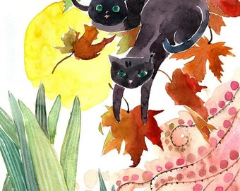 Cat Painting, Cat Watercolor, Black Cat Painting, Cat Print, Cat Art, Cat Nursery