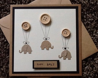 New baby card -baby shower-baby congratulations-baby birth annoucement -buttons-elephant -kraft card