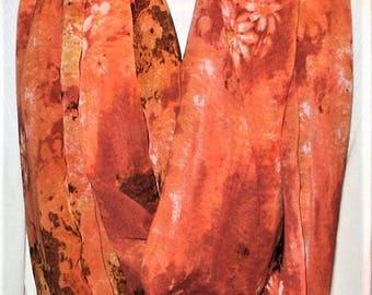 Orange Infinity Scarf, Circle Scarves, Eternity Scarves, Woman's Scarves, J'NING Fashions, J'NING Accessories