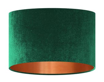 Velvet Lamp Shade Bottle Green Handmade Fabric Lampshade Mirror Copper Lining 20 30