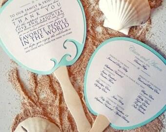 Program Fan, Beach Wedding Program, Destination Wedding, Wedding, Beach wedding, Ocean Wedding, Fan, Program, Wedding, Wedding Thank you