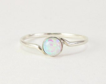 white opal ring, opal ring, Sterling silver opal ring, Silver white opal ring, silver opal jewelry, opal ring silver, Tiny opal ring