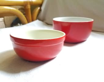 Hall Nesting Bowls Chinese Red set of 2 Vintage Hall Pottery Red and White Nested Mixing Made in the USA Hall's Superior Quality