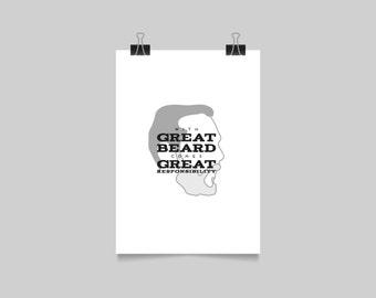 GREAT BEARD SCREENPRINT - man print - typographic poster