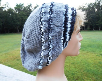 Adults Slouch Hat. Mens, Medium Gray with Black Stripes, mens beanie