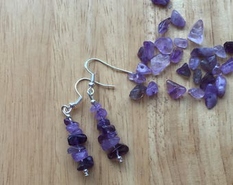 Natural Amethyst chip earrings