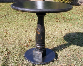Handcrafted Pedestal Table Distressed Black With Balustrade Leg 30 x 30 Inches