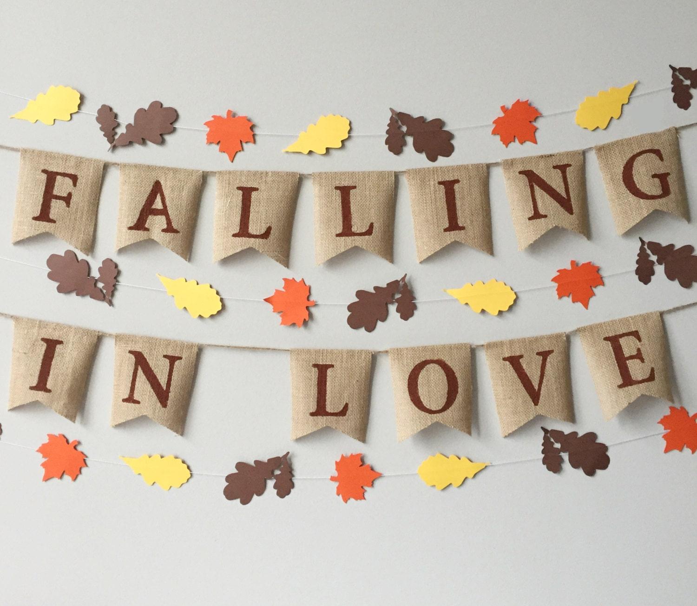 Falling In Love Burlap Banner, Fall Decor, Fall Wedding, Falling in ...