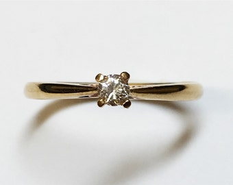 Diamond Solitaire Ring Yellow Gold, april birthstone, 9ct gold diamond ring