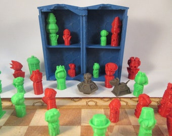Doctor Who 2018 Whimsical Chess Set and Play Set, 3D Printed and Laser Cut, Smaller Size
