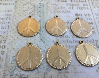 PEACE Small Charms Set of 6 Brass, Vintage Tooled Charms, Made in USA, Raw Brass