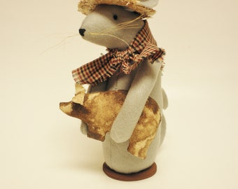 Farmer Mouse with Pig, Primitive Pigs, Handmade Mouse, Primitive Mouse, Handmade Pigs, Primitive Animals, Country Farmhouse, Primitive Decor