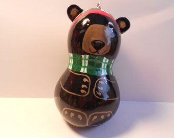 Painted Gourds, Christmas Black bear gourd ornament