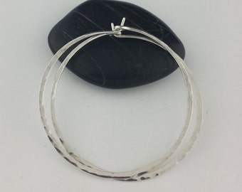 Large Hammered Silver Hoop Earrings, 18 Gauge, Sterling Silver Hoops, Thick Hoop Earrings, Hammered Round Hoops