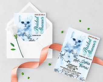 Cat Printable Bridal Shower Invitation, Kitty Cat Bridal Shower, Whimsical Bridal Shower,Cat Bridal Shower,Kitty Invitation, Printable
