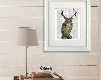 Owl with Antlers - owl print owl decor owl illustration owl art print bird antlers deer antlers antler decor dining room decor living room