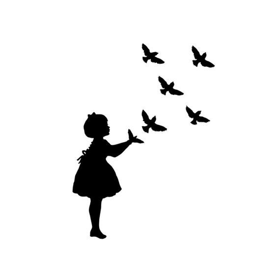 vogel schatten marionette silhouette print schwarz wei. Black Bedroom Furniture Sets. Home Design Ideas