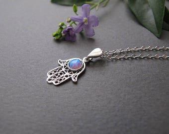 Hamsa necklace, Opal hamsa, Hamsa pendant, silver necklace, protection pendant, Hamsa hand, jewish necklace