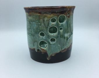 Large Pottery Utensil Holder Ceramic Utensil Holder Stoneware Utensil Holder