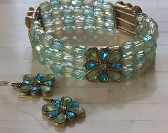 Bracelet and Earrings / Blues and Turquoise